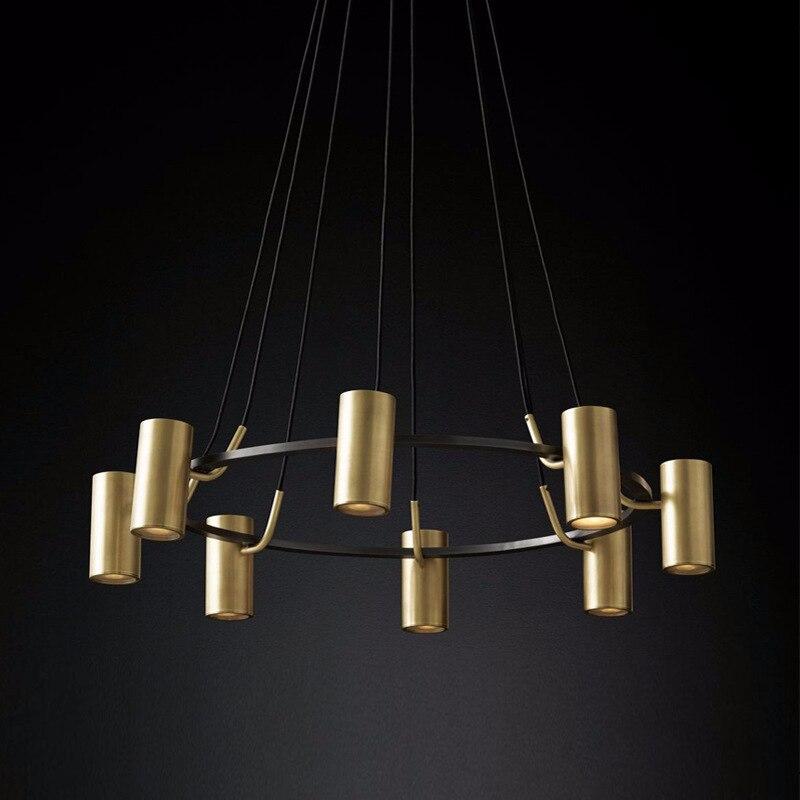 Lustre en cuivre de luxe américain RH Lustre Led salon Luminaria plaque pendentif Lustre luminaires éclairage intérieur