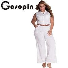 Gosopin Fashion Big Women Sleeveless White Belted Wide Leg Jumpsuit combinaison femme LC60932 Plus Size macacao long pant