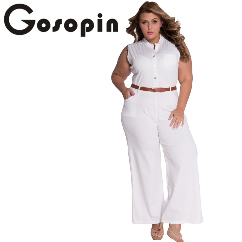 Gosopin Fashion Big Women Sleeveless White Belted Wide Leg Jumpsuit Combinaison Femme LC60932 Sexy Overalls Macacao Long Pant