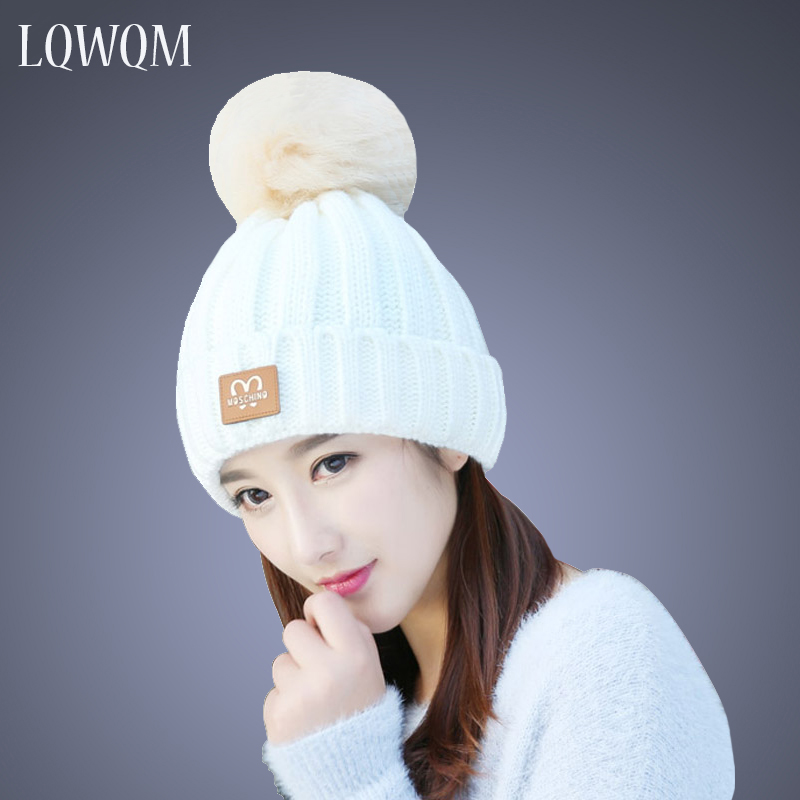 LQWQM brand knitted hat winter hats for women fashion beanies Letter cotton skullies female pom poms hat autumn cap real mink pom poms wool rabbit fur knitted hat skullies winter cap for women girls hats feminino beanies brand hats bones