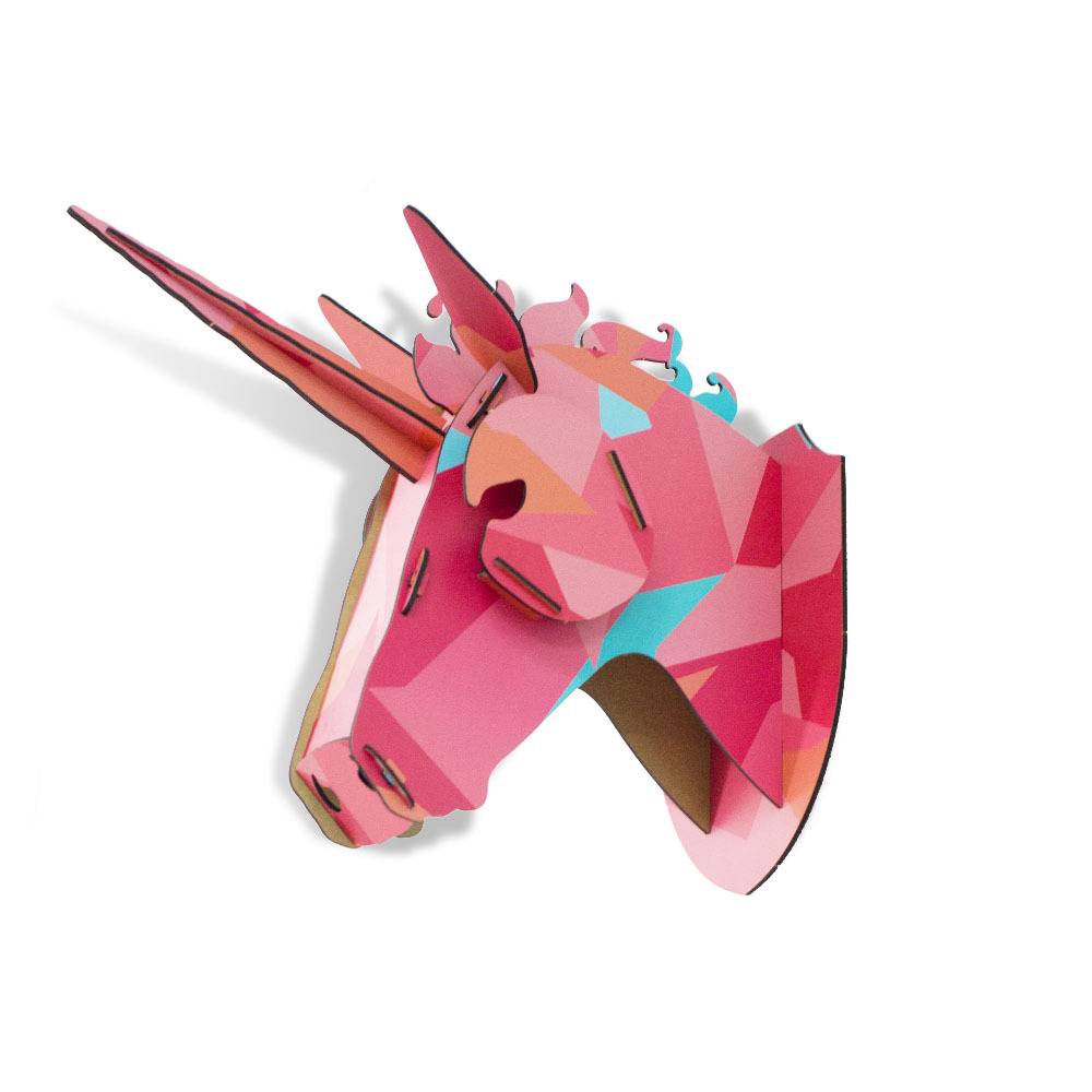 Limited New Band 3D Wooden Animal Horse Unicorn Head Wall Hanging Wood Home Decor MDF Crafts Art Wall Decoration Free Shipping