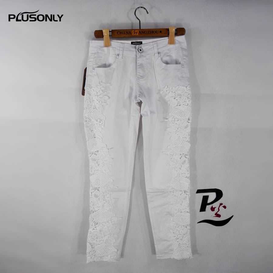 Hollow Out Lace Jeans Women Casual Slim Skinny Low Waist Denim Jeans Pencil Pants White Trousers FY23 gothic gridding hollow out women s waist slimming corset