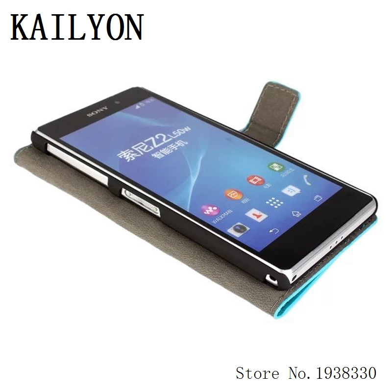KAILYON For sony xperia z2 Case Luxury Flip Wallet Stand PU Leather For Xperia Z2 L50W D6503 D6502 Cover Cases Bag With Card Hol