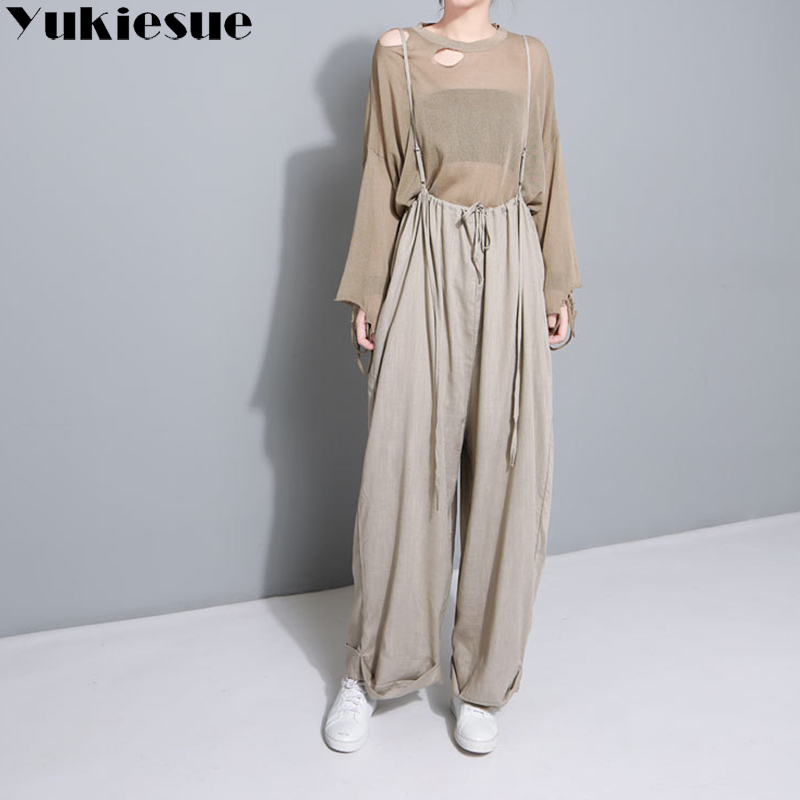 Cotton linen high waist elastic wide leg   pants     capri   women 2018 autumn winter loose overalls female trousers pantalon femme