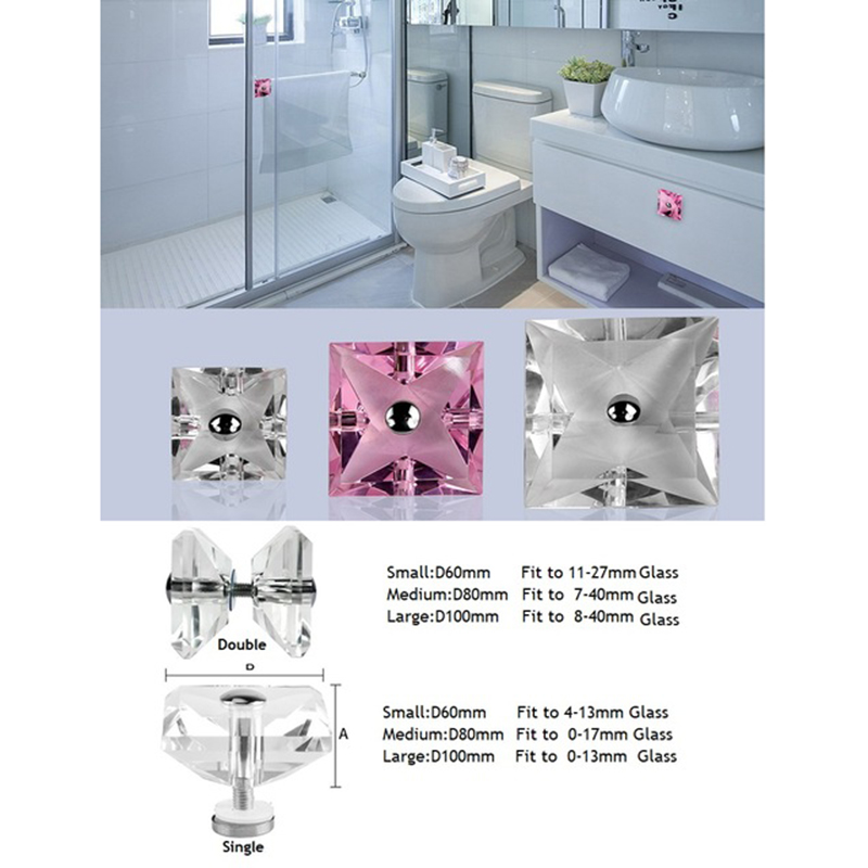 Square Crystal Glass Door Knob Pull Handle Shower Box Bathroom Clear PinkSquare Crystal Glass Door Knob Pull Handle Shower Box Bathroom Clear Pink