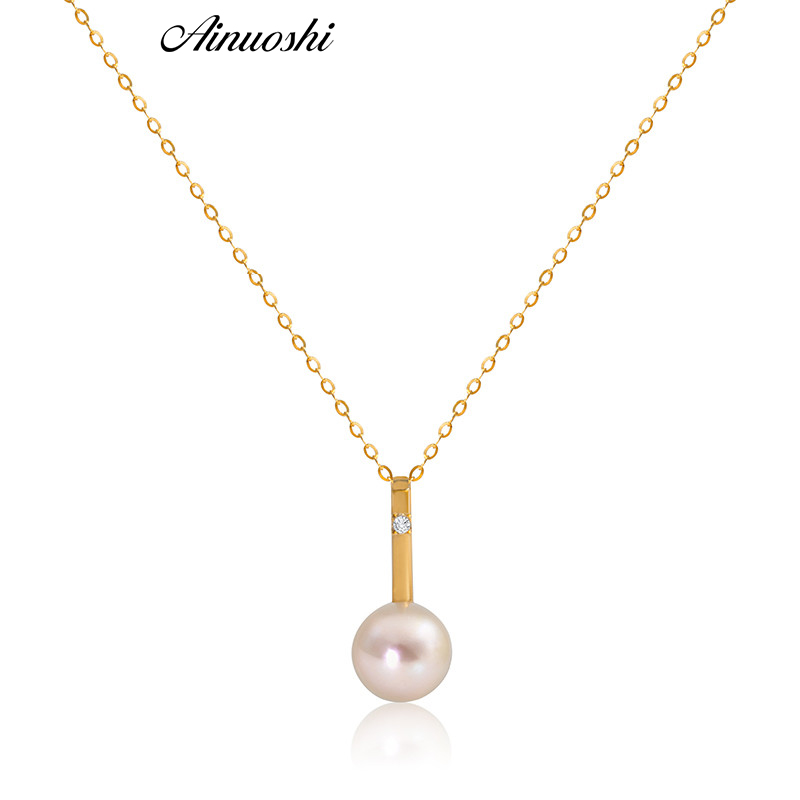 AINUOSHI 18K Yellow Gold Real Diamond Pendant Natural Pearl Necklace 7 7.5mm Round White Pearl Women Engagement Pendant Chain