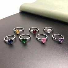Свадебные подарки в форме сердца многоцветные кубические циркония 925 пробы Серебряное кольцо Размер 4 5 6 7 8 9 10 11 12 HERR0003