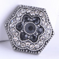 New Trendy KZ1254 Beauty Fashion Rhinestone Black flowers 18MM Metal giner snap buttons for DIY charm snap bracelet wholesale