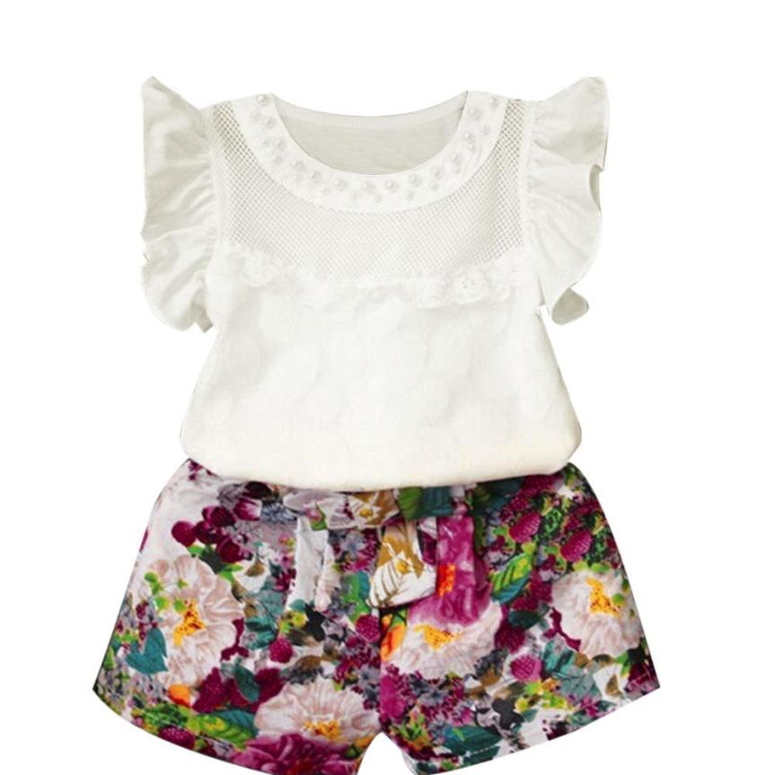 Clothing Sets shorts Pants 2pc Set Outfits Clothes Oct Amazing Catalogues Will Be Sent Upon Request Bright Kids Baby Girls Floral Vest Tops Shirt