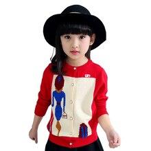 Tribros Girls Kids Button Sweaters Cartoon Printed Coat Autumn Winter Style Jacket Feminine Children s Fashion