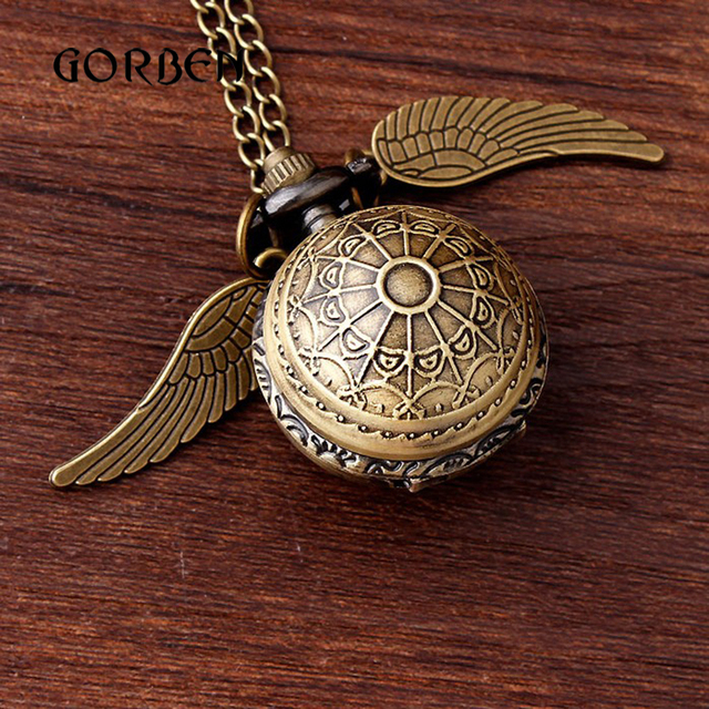 Bronze Small mini Harry Potter Silver Snitch Ball Pocket Watch Necklace Chain Pendant Wings Smooth Quartz Watch pocket Gifts New