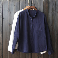 Women Spring Summer Long Sleeve Loose Blouse Cotton Linen Stand Collar Open Stich Cardigans Pockets Solid