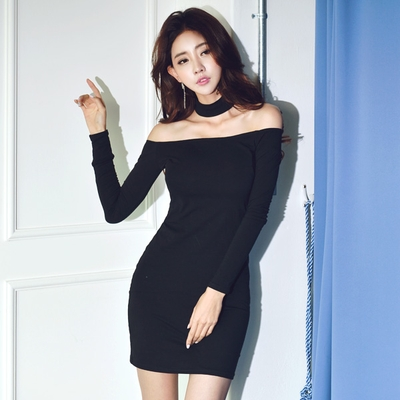 collar leaky shoulder Necklace dress Xiaoluxiang shoulder long sexy Shoulder exposed hip tied bottom shirt in autumn