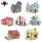 DIY 3D Wood Puzzles House Toys Kits Romantic House Educationnal Toy Model Building Wooden 3D Puzzle for Kids and Adults