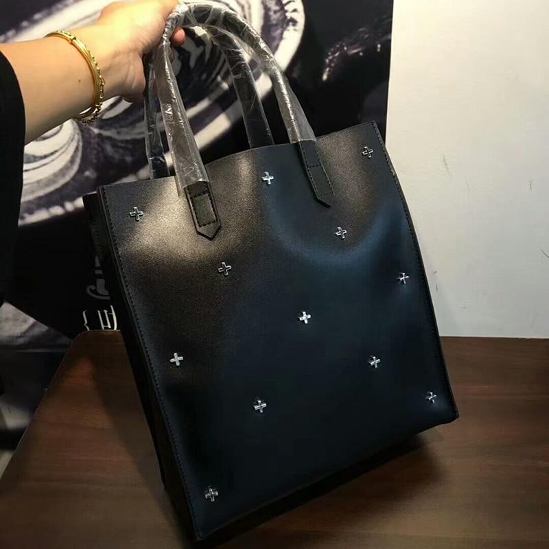 De Main En Simple Sacs À Décoration blue Rivets Atmosphère Shopping Femmes burgundy Sac Véritable Mode Cuir Forme Black Bandoulière q48IFIw
