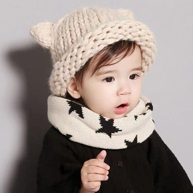 17a059a61d8 Fashion Toddler Baby Girl Boy Winter Hat Handmade Crochet Woolen Skull Hats  Cute Cat Ear Knitted