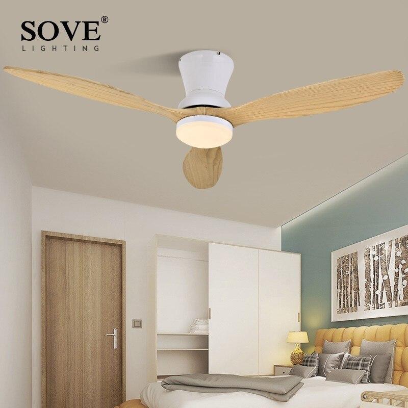 SOUVE Blanc Nordique Moderne LED Plafond En Bois Ventilateur Ventilateurs de Plafond En Bois Lampe Salon Grenier Ventilateur DC Ventilateurs de Plafond Avec lumières 220 v