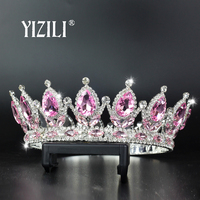 YIZILI big crown Pink green silver Pageant Beauty Contest Tall Queen King Bride Tiara For Women Headdress Prom Bridal WeddingC80