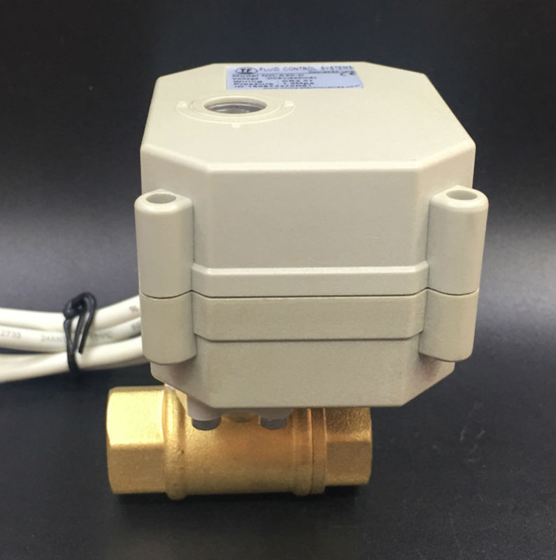 TF10-B2-C, 2 Wires or 5 Wires Normally Open/Close Valve 2 Way Brass 3/8'' (DN10) AC/DC9-24V Metal Gear For Water Application