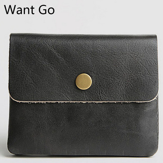 Want Go New Fashion Genuine Leather Men Women Mini Wallets Casual Unisex Hasp Short Money Purses Lady Coin Purses Card Holders