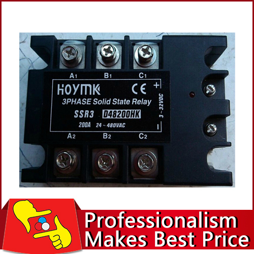 Free shipping 200A 70-280V AC three phase D48200HK electronic switch solid state relay normally open single phase solid state relay ssr mgr 1 d48120 120a control dc ac 24 480v
