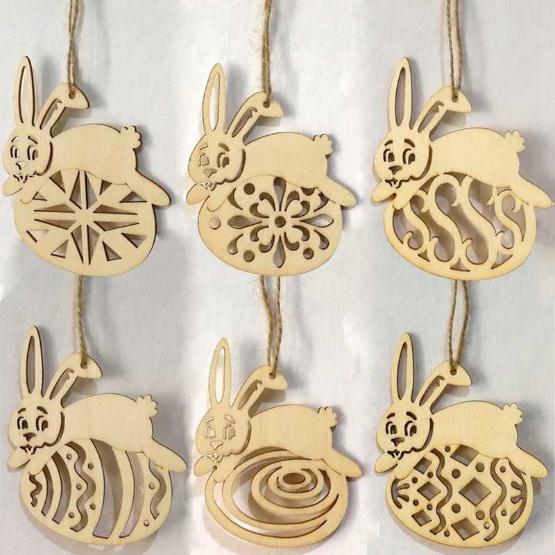 6Pcslot Easter Rabbit Wooden Cutouts Unfinished Wood Crafts Tags Decorative Pendants with String for Easter Decorations