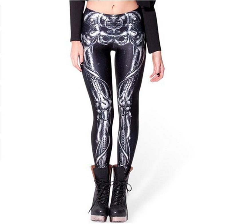 AmberHeard Women Leggings 2019 High Quality Digital Printing Mechanical Bones Sporting Leggins Legging Joggers Fitness Pants