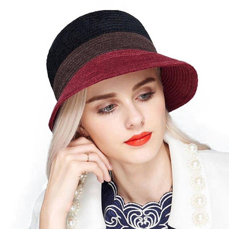Vintage sombreros mujeres negro Brown ala ancha Fedora sombrero del verano  señora viajes elegante Iglesia sombreros para las mujeres con grandes  cabezas en ... 8ec071f9fae