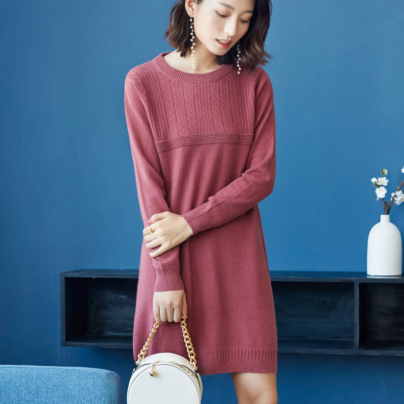 1c4dd99ea81 Hot Sale Women Dresses 100% Pure Cashmere Knitting Jumpers Winter Warm Long  Style 3Colors Oneck Dress Ladies Knee-Length Clothes