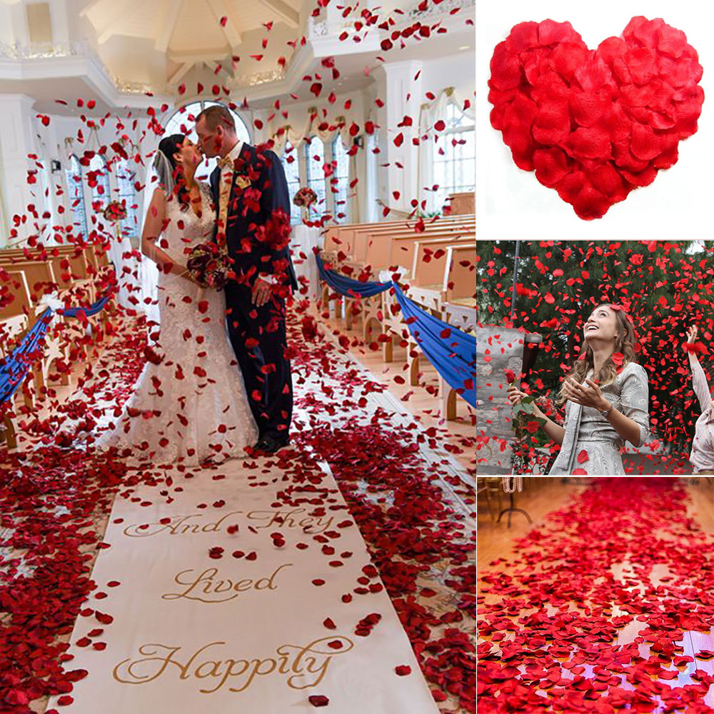 500pcs Lifelike Artificial Silk Red Rose Petals Decorations For Wedding Party H1