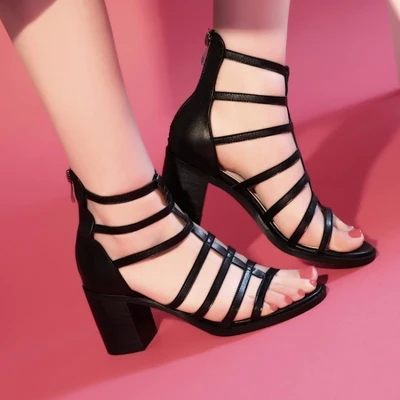 ФОТО 2015 New summer female Genuine Leather sandals cool boots short thick high heel Roman sandals can be customized plus size D3758
