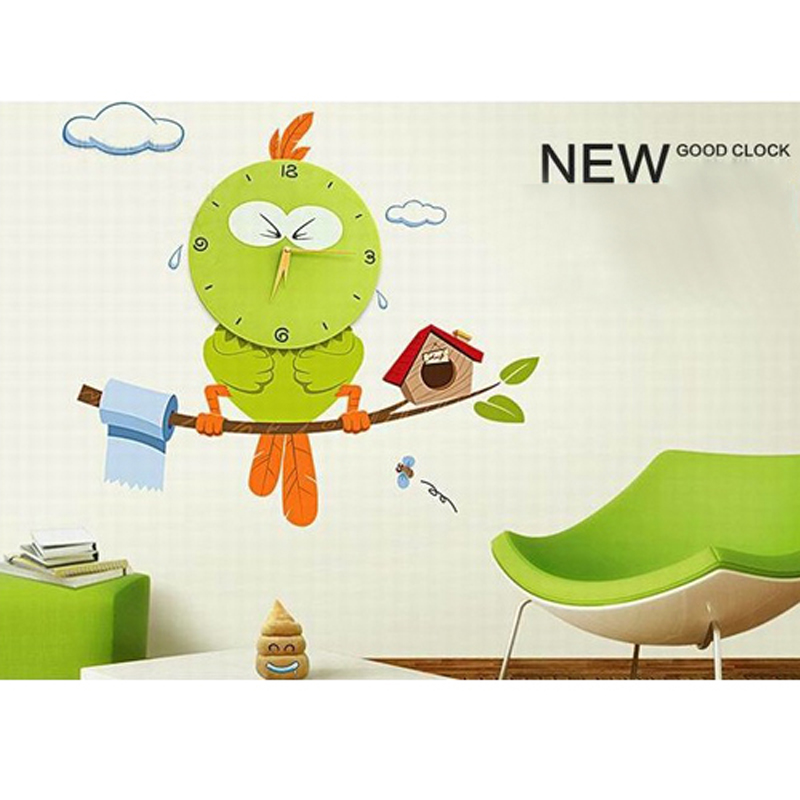 2 pcs/lot Creative DIY 3D Interior Decorating Vinyl Owl Three-dimensional Surface Wall Clock for Kids Room
