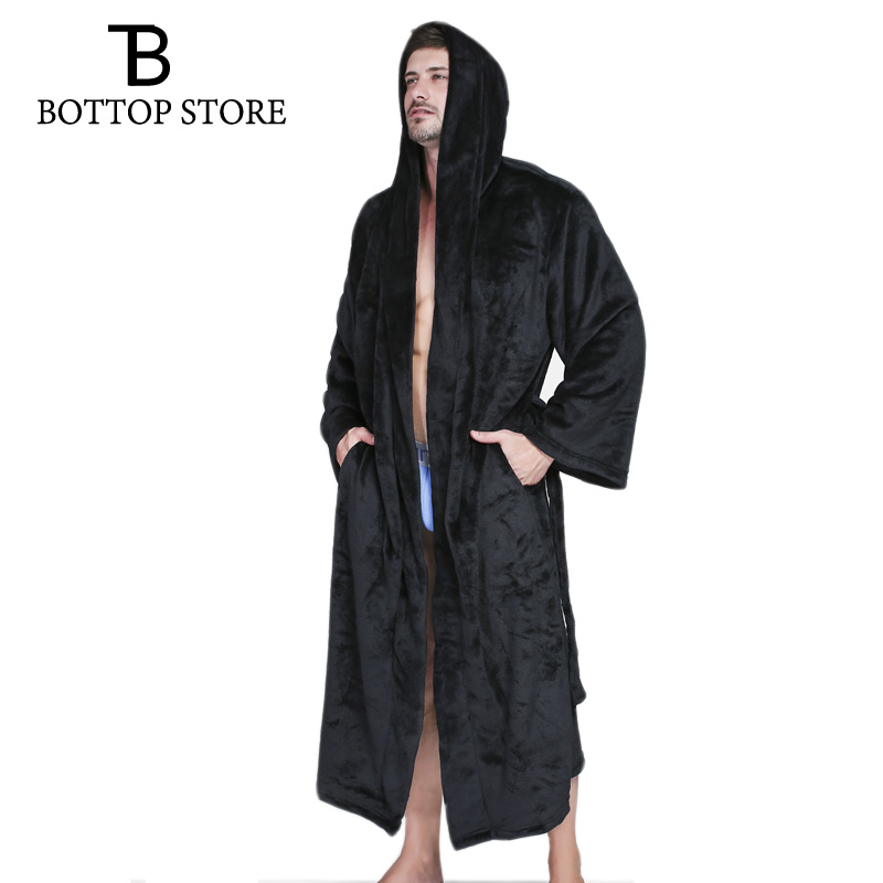 Winter Warm Flannel Men Hooded Bathrobe Dressing Gown Man Bath Robe Mens Mantle Nightwear Large Size Male Gown Sleepwear 3XL