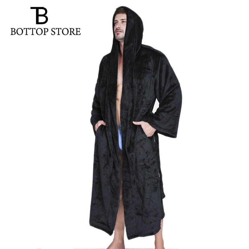 Winter Warm Flannel Men Hooded Bathrobe Dressing Gown Man Bath Robe Mens Mantle Nightwear Large Size Male Gown Sleepwear 3XL