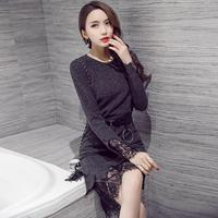 Women Elegant Sexy Lace Patchwork Knitted Dress Autumn 2017 Solid O Neck Empire Women Dress Evening