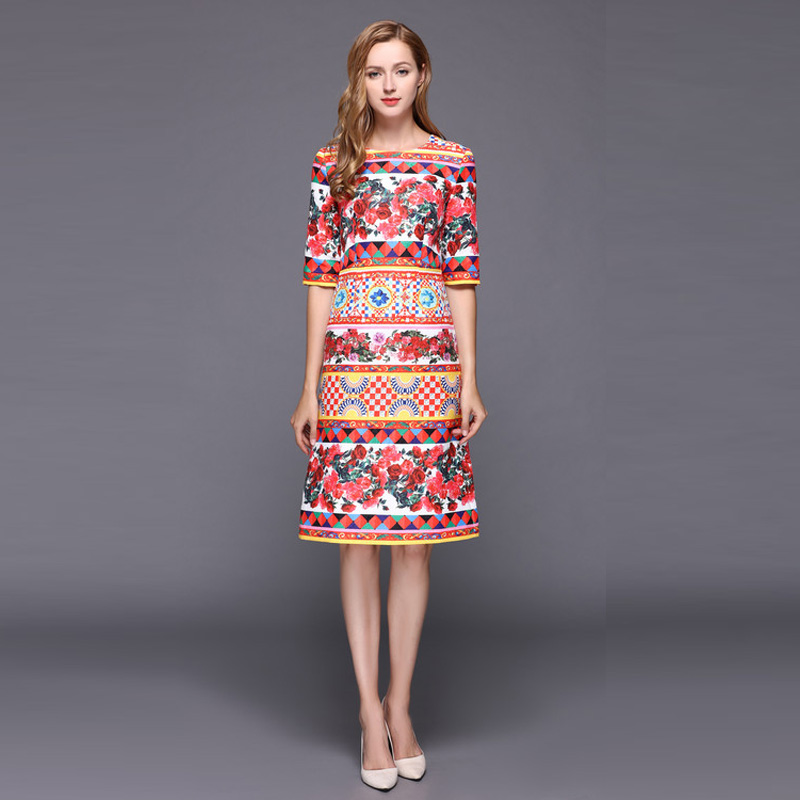 Custom Dress S-7XL Europe Fashion Autumn Newest O-Neck Half Sleeve Check Rose Print Elegant Knee-Length Plus Size Dress Women s 4xl plus size women pencil dress 2016 fashion striped knee length autumn dresses