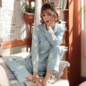 Image 3 - Frauen Schlaf Lounge Elegante Floral Pyjama Set Herbst Baumwolle Hemd und Hose Zwei Stücke Nachtwäsche Sexy Mantel Set Casual Homewear