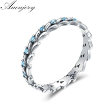 Anenjery Vintage Fashion Setting CZ Wave Silver Color Ring For Women Size 6-10 anillos anel Silver Jewelry S-R320