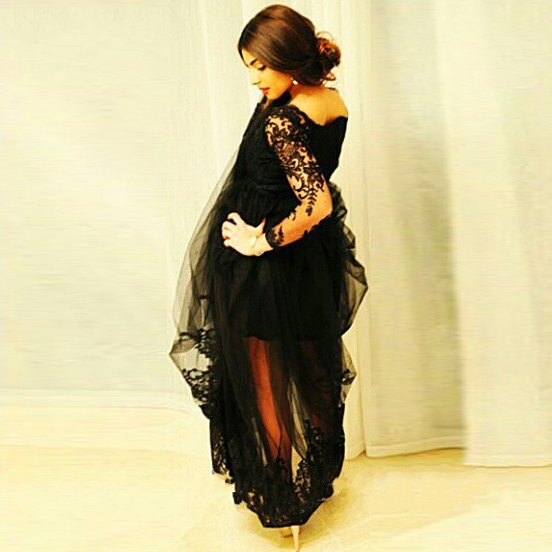 Plus Size Long Masquerade Prom Dresses For Woman Custom Made 2017 Tulle See  Through Sexy Black Long Sleeve Evening Dresses-in Evening Dresses from  Weddings ... 9c32e1d13e27