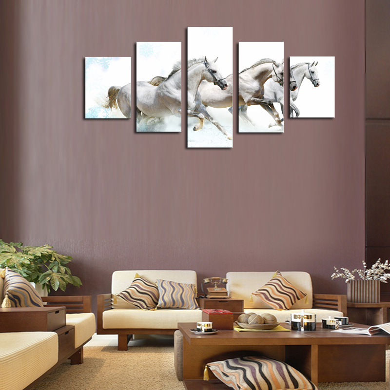framed 5 panels picture running horse hd canvas print painting artwork modern wall art canvas painting
