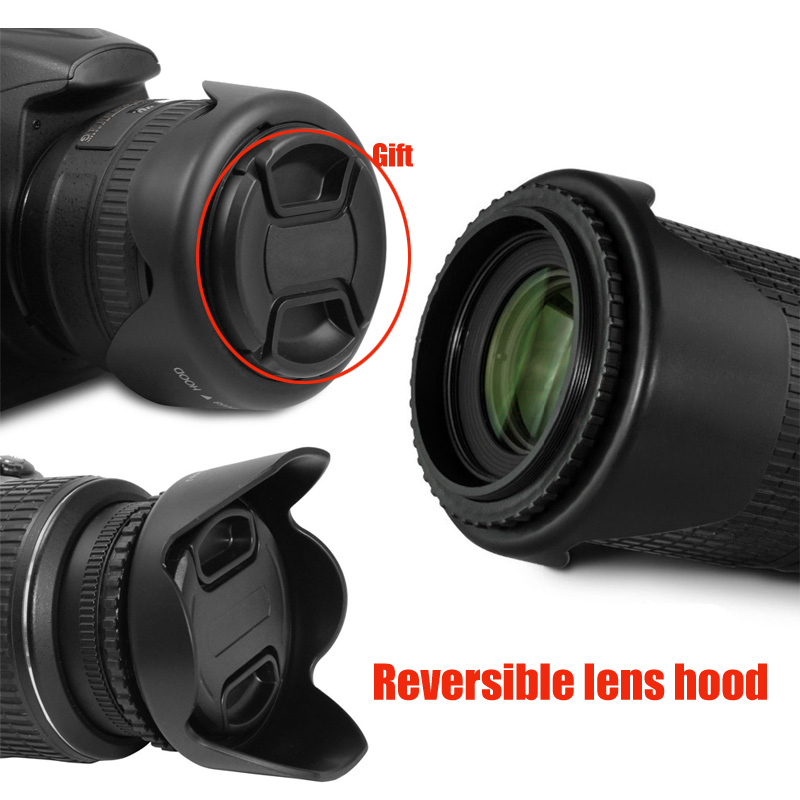 58mm 1Pcs 49mm 52mm 55mm 58mm 62mm 67mm 72mm 77mm 82mm Universal 3-Stage Collapsible Rubber Lens Hood