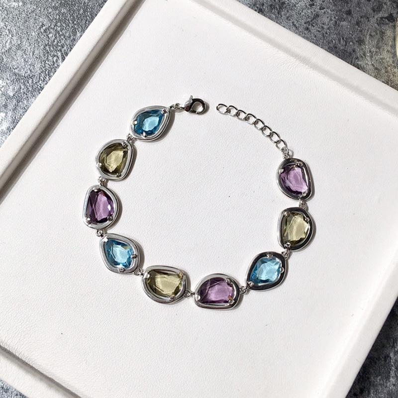 Bracelets en cristal naturel coloré de bijoux de marque de luxe pour des femmes de charme Bracelet et Bracelet de fiançailles de Style de sucrerie de qualité supérieure - 4