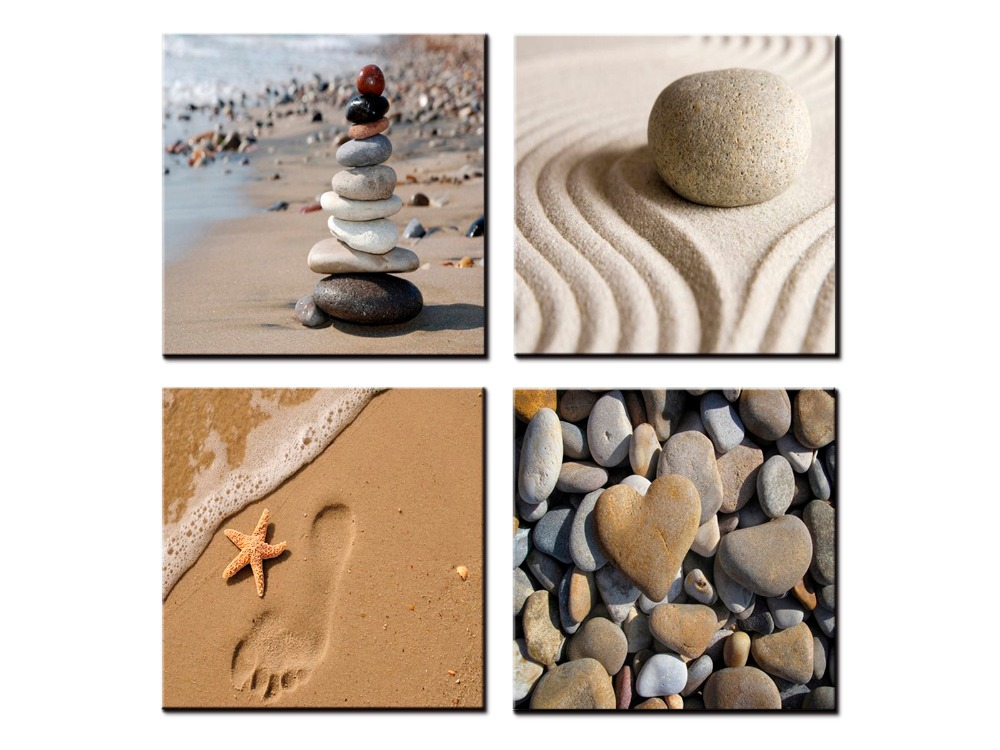 TOP sale 4 Pieces/set Sea Scenery Beach stone Wall Art For Wall Decor Home Decoration Picture Paint on Canvas Prints Painting