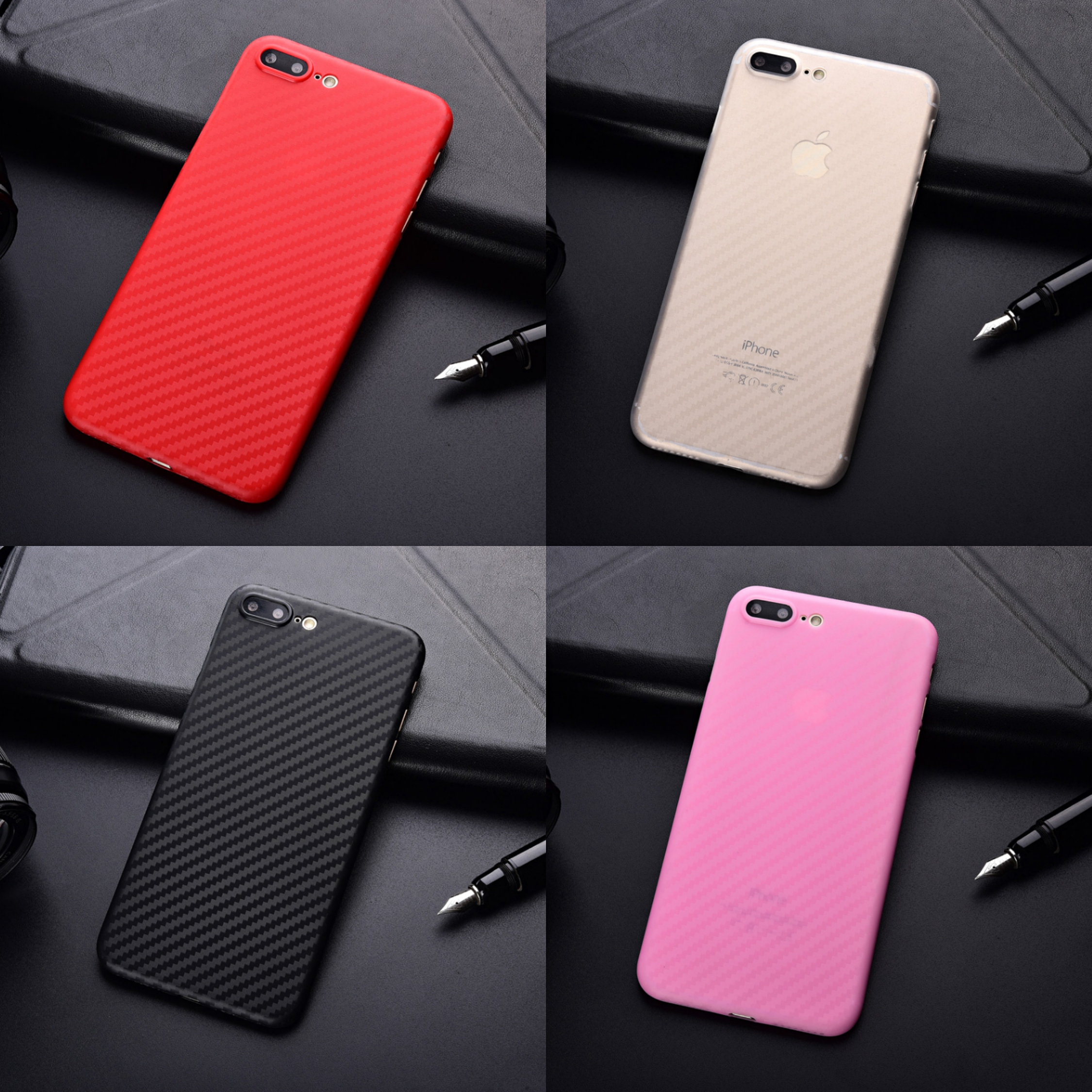 Luxury Ultra Thin Soft Carbon Fiber Phone <font><b>Case</b></font> For <font><b>iPhone</b></font> X XR XS Max 8 7 <font><b>6</b></font> 6S <font><b>Plus</b></font> Black White Blue <font><b>Red</b></font> Pink Bumper Cover Coque image
