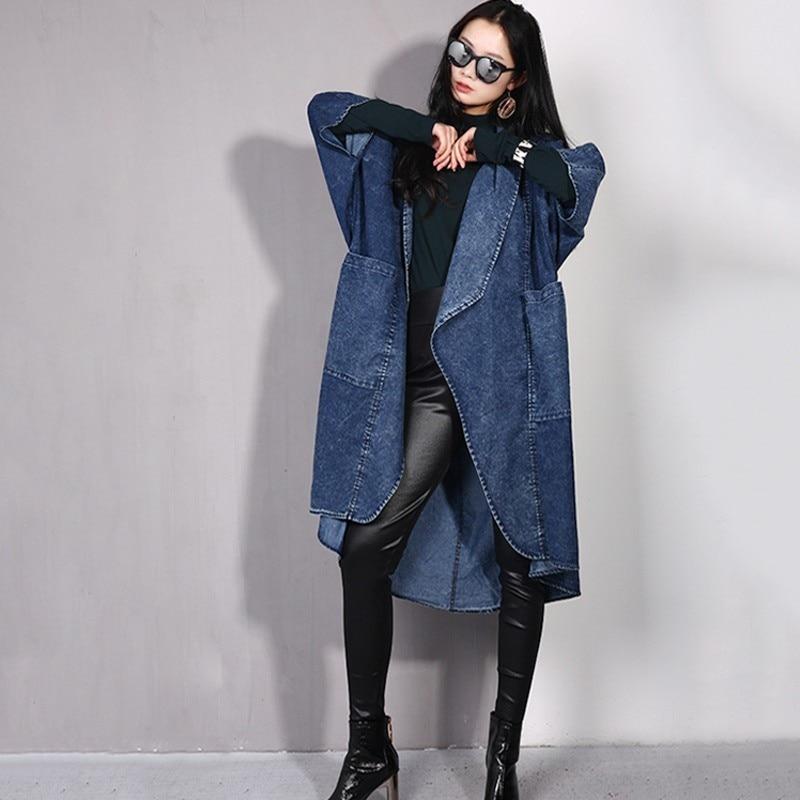 LANMREM 2019 Spring New Fashion Long Batwing Sleeve Pocket Open Stitch Denim Coat Woman Casual Autumn