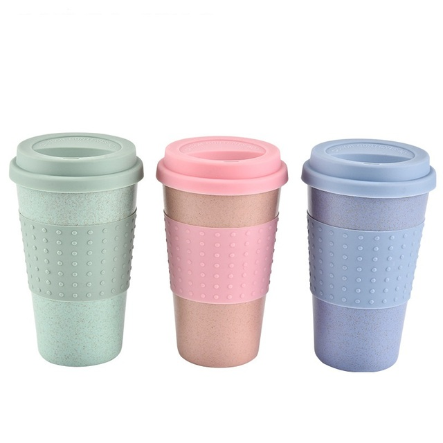 350ml Eco Friendly Wheat Straw Coffee To Go Cups Travel Mug With Lids Cup