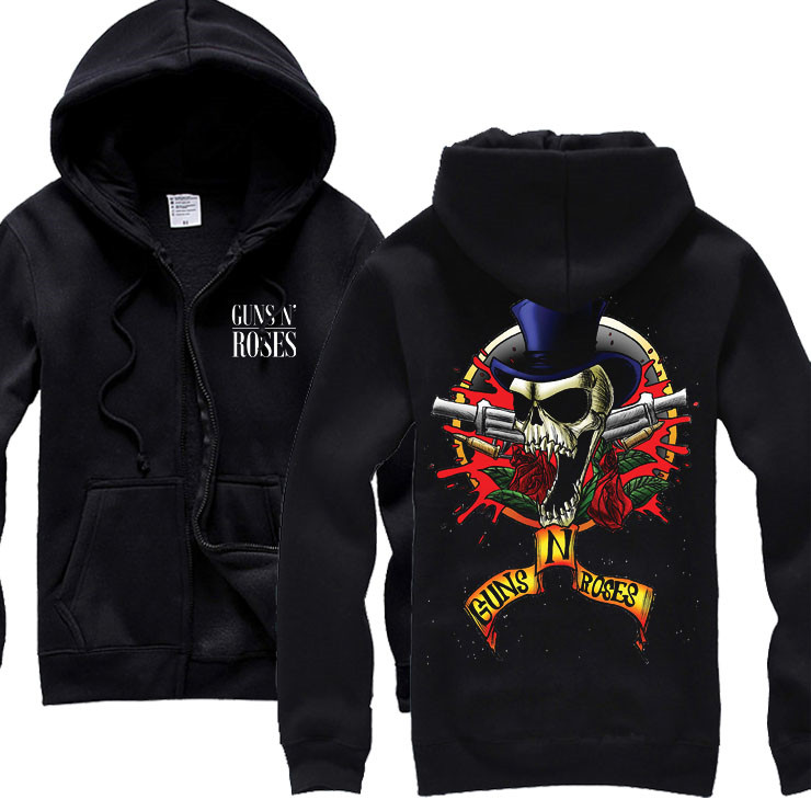 24 конструкции Пистолеты N Roses Толстовка НРГ хлопок рок молнии толстовки куртка Пистолеты N' Roses панк Хардрок тяжелых металлов sudadera