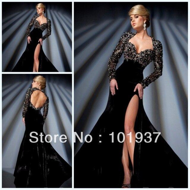 1free Shipping Velvet Long Black Prom Dress Sweetheart Sexy Slit