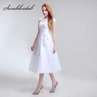 Simple Tea Length Lace Appliques Wedding Dresses Tulle A Line Cap Sleeve Little White Dress Cheap