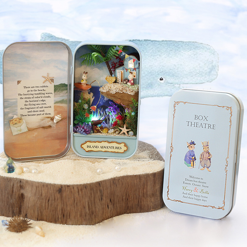 Island Adventures Box theatre DIY Mini Dollhouse 3D Wooden Puzzle Miniature Dolls Furnit ...